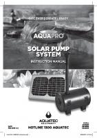 AQUAPRO Solar Pump System Instruction