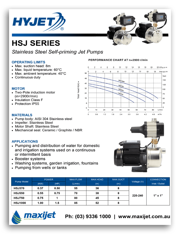 Hyjet HSJ Series Brochure