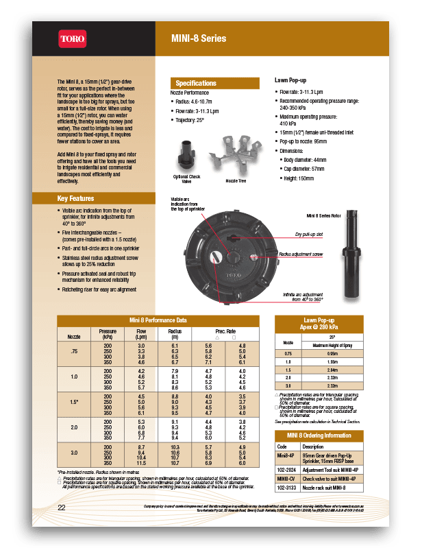 Toro Mini 8 Brochure
