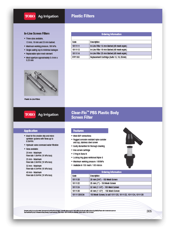 Toro Screen Filter Brochure