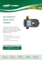 Orbit Single Station Tap Timer Brochure